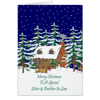 Log Cabin Christmas Sister & Brother In Law Greeting Card