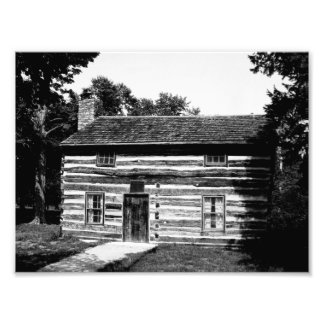 Log Cabin in Black and White Photo Print