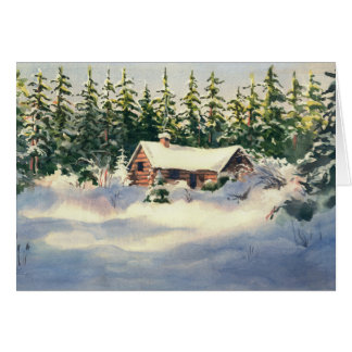 LOG CABIN in SNOW by SHARON SHARPE Card