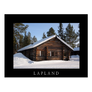 Log cabin in the snow, Lapland black text postcard