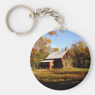 Log Cabin in the Woods Basic Round Button Keychain