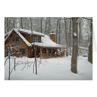 Log Cabin in Winter greeting card