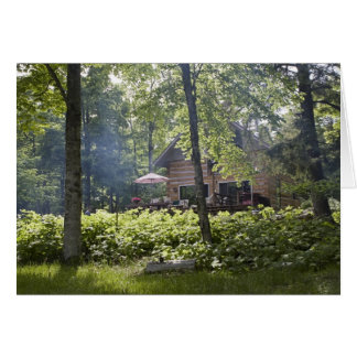 Log Cabin in Woods Card