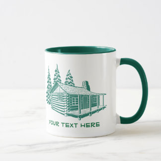 Log Cabin Lake House Woods Custom Text Mug