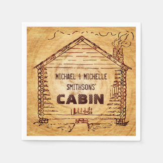 Log Cabin Personalized Faux Wood 2 Disposable Napkin