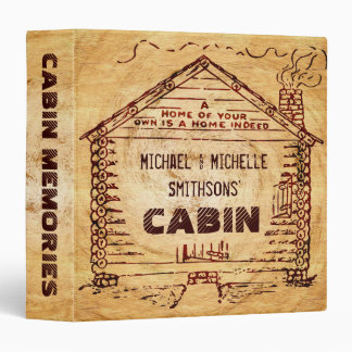 Log Cabin Personalized Faux Wood Binder