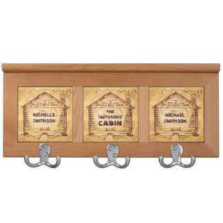Log Cabin Personalized Faux Wood Coat Racks