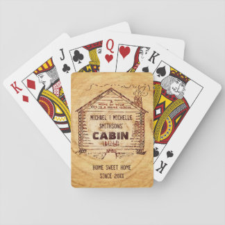 Log Cabin Personalized Faux Wood Poker Deck