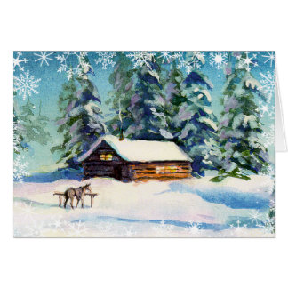 LOG CABIN & SNOWFLAKES by SHARON SHARPE Card