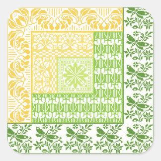 Log Cabin Spring Square Sticker