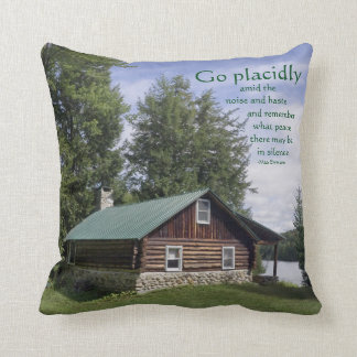 Log Cabin with Poetry Throw Pillow