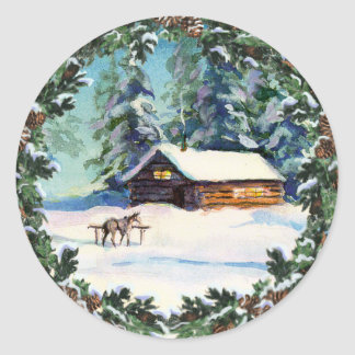 LOG CABIN & WREATH by SHARON SHARPE Classic Round Sticker