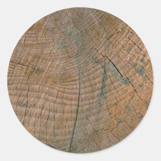 Log, grain classic round sticker