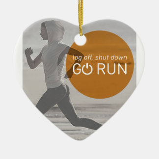 Log Off Shut Down Go Run Ceramic Ornament
