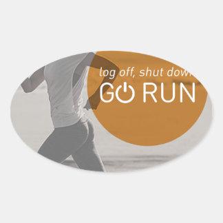 Log Off Shut Down Go Run Oval Sticker