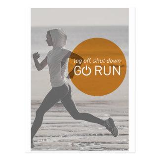 Log Off Shut Down Go Run Postcard