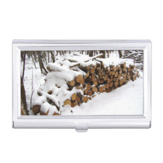 Log Pile in the Woods Business Card Holder