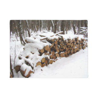 Log Pile in the Woods Door Mat