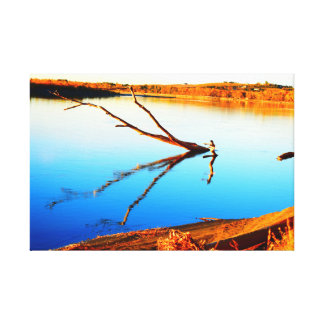 Log reflection in the water on canvas