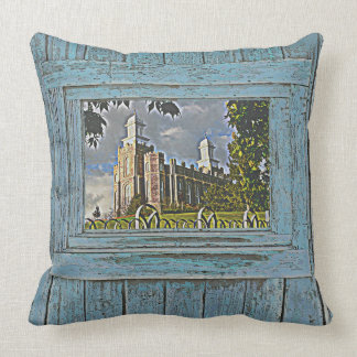 Logan Temple, Blue tone, Throw Pillow