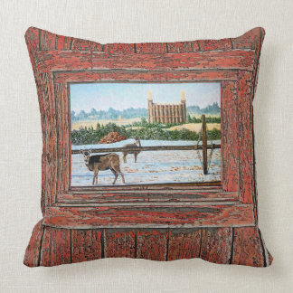 Logan Temple Oil Painting, red tone, Throw Pillow