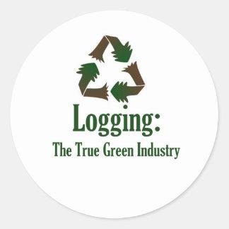 Logging: Green Industry Round Sticker