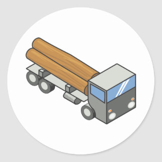 Logging truck classic round sticker
