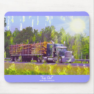 Logging Truck Highway Driving Art Mousepad