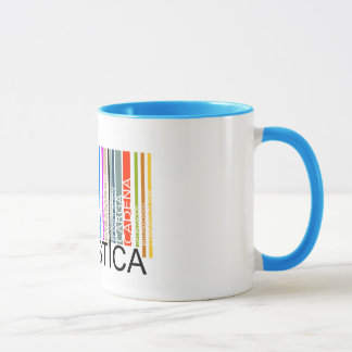Logistic cup with bar code of colors