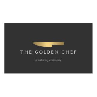 Logo 2 de couteau de chef d'or pour approvisionner carte de visite standard