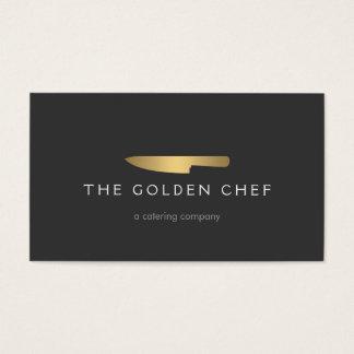 Logo 2 de couteau de chef d'or pour cartes de visite