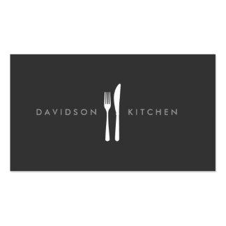 Logo 2 de fourchette et de couteau pour le chef, carte de visite standard