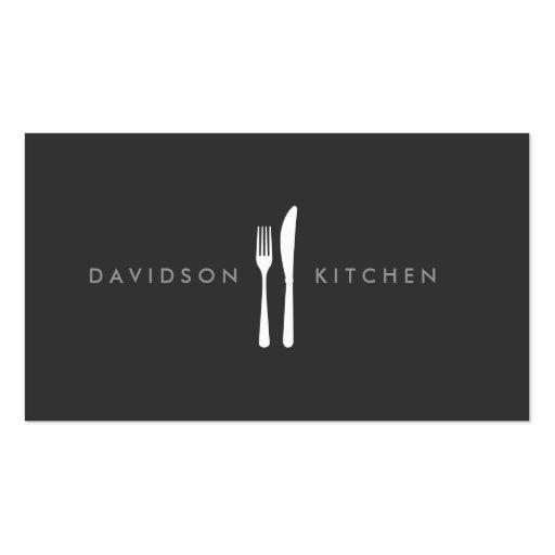 Logo 2 de fourchette et de couteau pour le chef, modèle de carte de visite