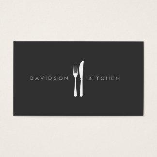Logo 2 de fourchette et de couteau pour le chef, cartes de visite