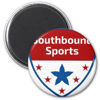 Logo allant vers le sud de crête de sports magnet rond 8 cm