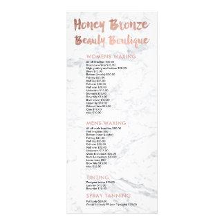 Logo beauty gold typography marble price list custom rack card