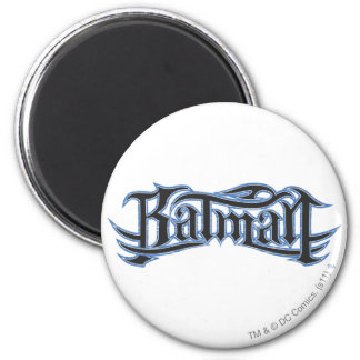 Logo bleu de lettres noires de Batman   Magnet Rond 8 Cm