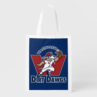 Logo collégial d'équipe de baseball de Dawgs de Sacs D'épicerie Réutilisables