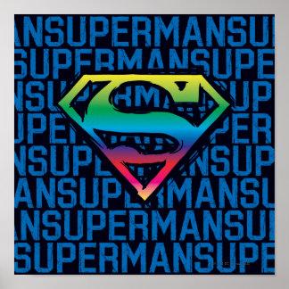 Logo d'arc-en-ciel du S-Bouclier | de Superman Poster