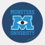 Logo de bleu d'université de monstres autocollant rond