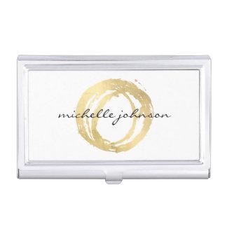 Logo de concepteur de cercle peint par or Luxe de Boîtiers Pour Cartes De Visite