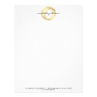 Logo de concepteur de cercle peint par or Luxe de En-tête De Lettre Avec Motif