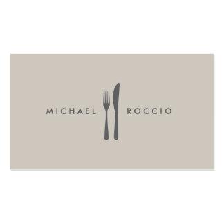 Logo de fourchette et de couteau pour le chef, fin modèle de carte de visite