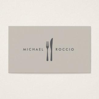 Logo de fourchette et de couteau pour le chef, fin cartes de visite
