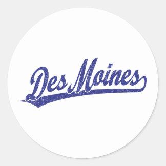 Logo de manuscrit de Des Moines dans le bleu Sticker Rond