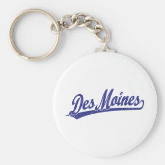 Logo de manuscrit de Des Moines dans le bleu Porte-clé Rond