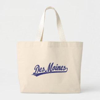 Logo de manuscrit de Des Moines dans le bleu Sac En Toile Jumbo