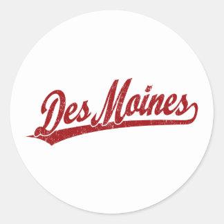 Logo de manuscrit de Des Moines en rouge Sticker Rond