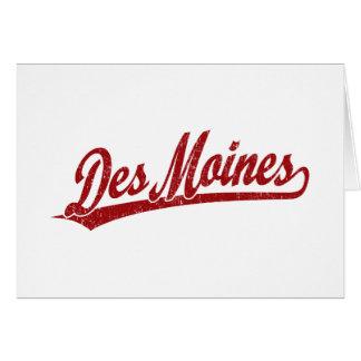 Logo de manuscrit de Des Moines en rouge Carte De Vœux