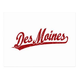 Logo de manuscrit de Des Moines en rouge Cartes Postales